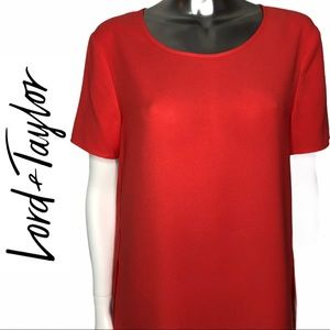 NWT Lord & Taylor Short Sleeve Round Neck Red